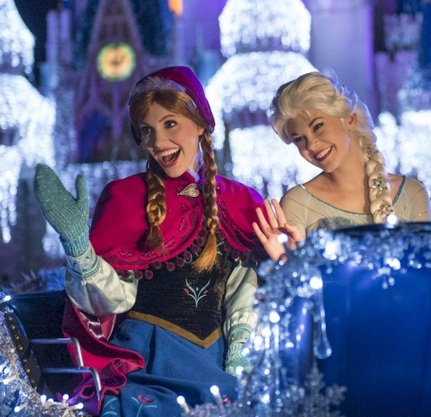 "For the first time at Mickey's Very Merry Christmas Party, Princess Anna, Queen Elsa, Kristoff and Olaf from ""Frozen"" join the festive procession, ""Mickey's Once Upon a Christmastime Parade,"" along with a flurry of skiers and ice cutters from the Kingdom of Arendelle."