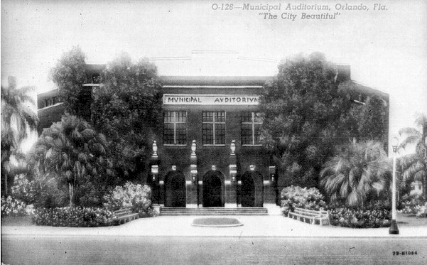Historic photos of the Orlando Municipal Audutorium.  Shows and plays of the Orlando Broadway Series