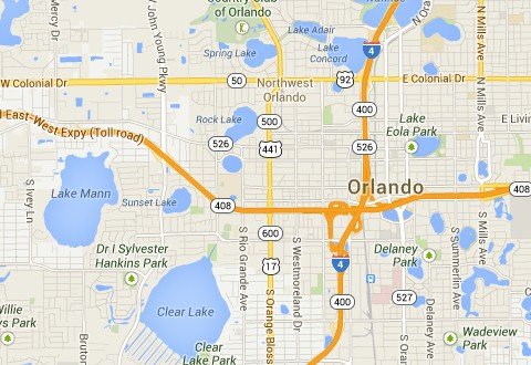 Map of the Orlando area. Information on Driving distances in the state of Florida: AboutOrlando.com