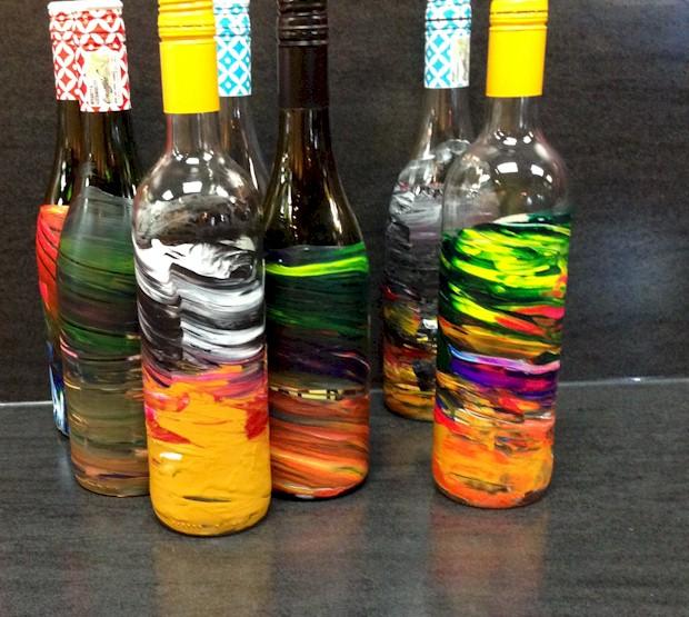 Art bottles at Pinot's Palette
