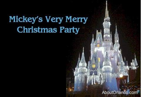 Cinderella's Castle during Mickey's Very Merry Christmas Party at the Magic Kingdom. AboutOrlando.com