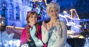 """Mickey's Very Merry Christmas Party, Princess Anna, Queen Elsa, Kristoff and Olaf from """"Frozen"""" join the festive procession."""